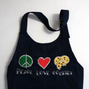 bestickte Kinderschürze - Peace - Love - Cookies