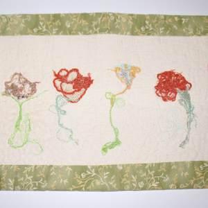 Textilbild - FadenBlumen - Detail 1