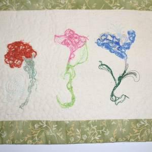 Textilbild - FadenBlumen - Detail 2