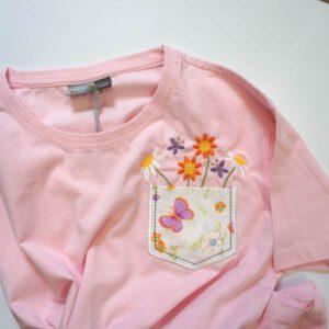 T-Shirt für Frauen in rosa mit Blumenstickerei