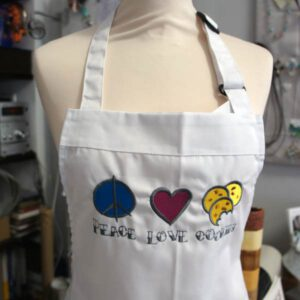 bestickte Schürze - Peace Love Cookies