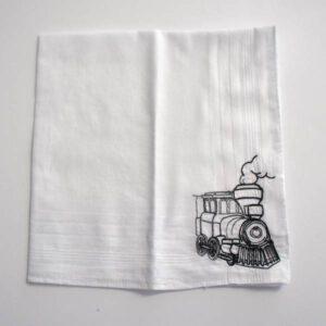 Baumwolltaschentuch mit Lokomotive bestickt