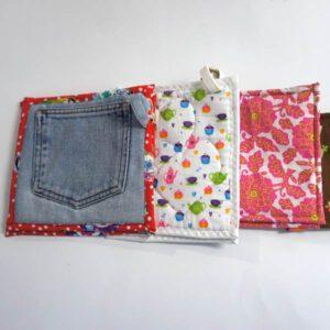 Topflappen aus Jeans und Baumwollstoff