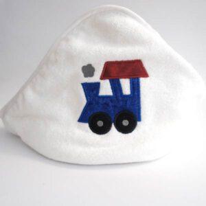 Kapuzentuch für Baby mit Lokomotive appliziert
